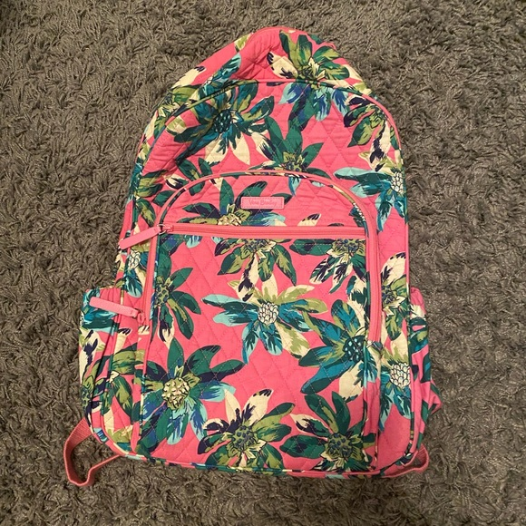 Vera Bradley Backpack in Pink with Green Palms